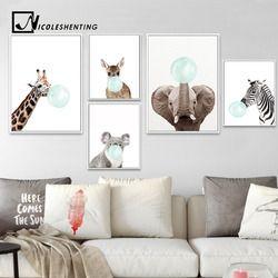 NICOLESHENTING Bébé Animal Zèbre Girafe Toile Affiche de Mur de Crèche Art Imprimer Peinture Nordique Photo Enfants Chambre Décoration