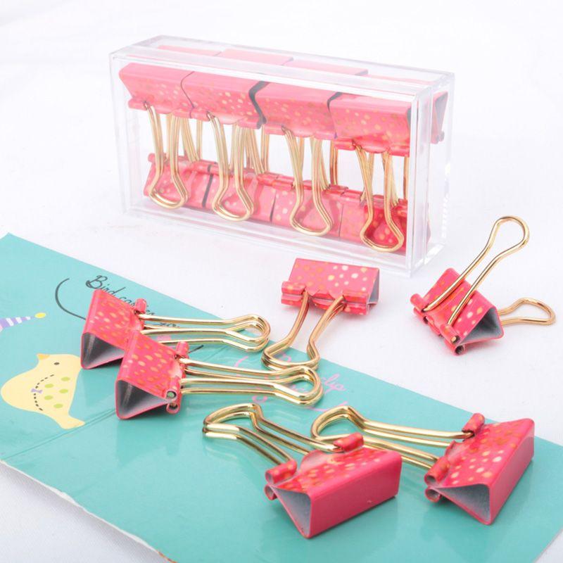 Envío de la Nueva llegada carpeta de impresión de 19mm de metal clip de papel clips de la carpeta de cola de milano suministros de papelería de oficina de color rosa clips de la carpeta