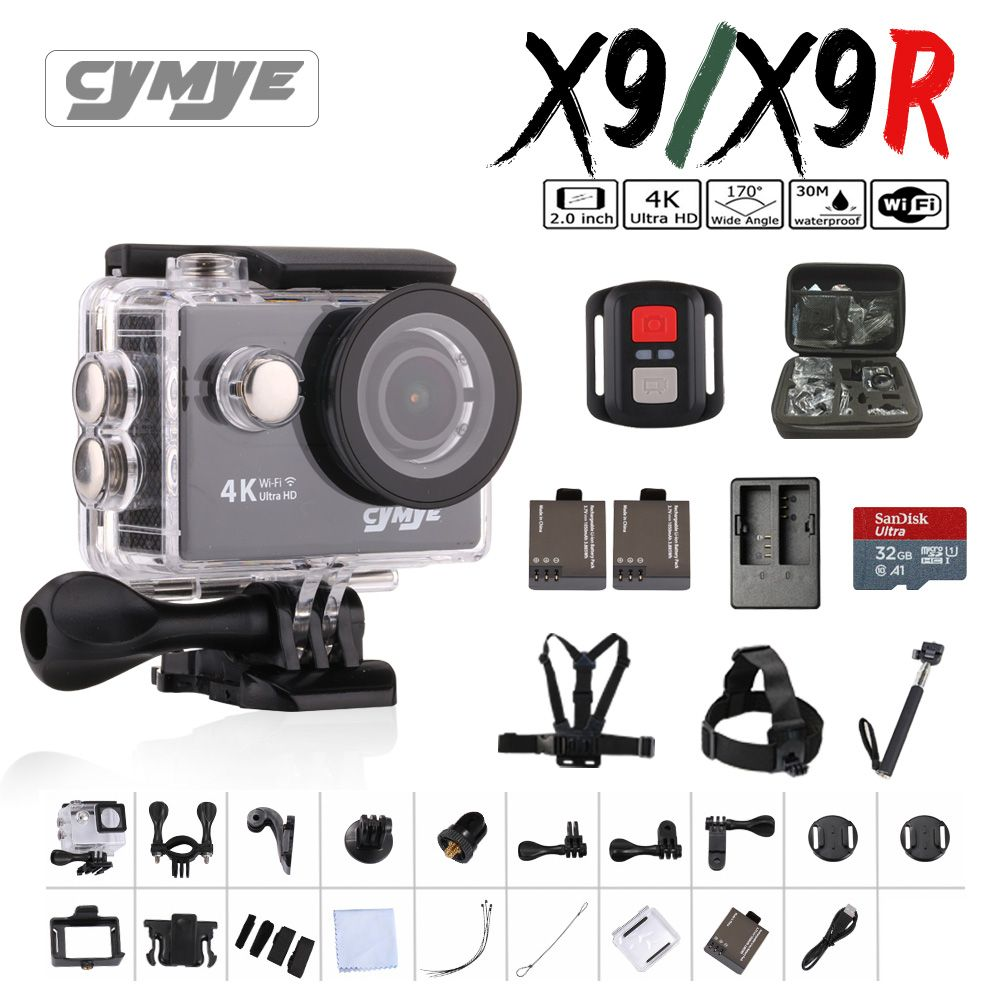 Cymye action kamera X9/X9R Ultra HD 4 Karat WiFi 1080 P 60fps 2,0 LCD 170D