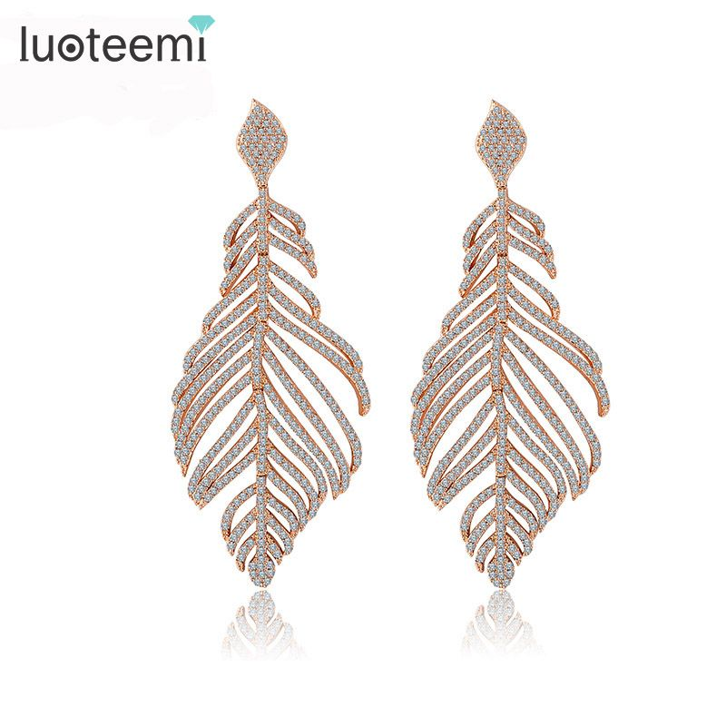 LUOTEEMI New Arrival Statement Luxurious Big Long Micro Paved CZ Crystal Feather Drop Earrings for Women Bridal Wedding Brincos