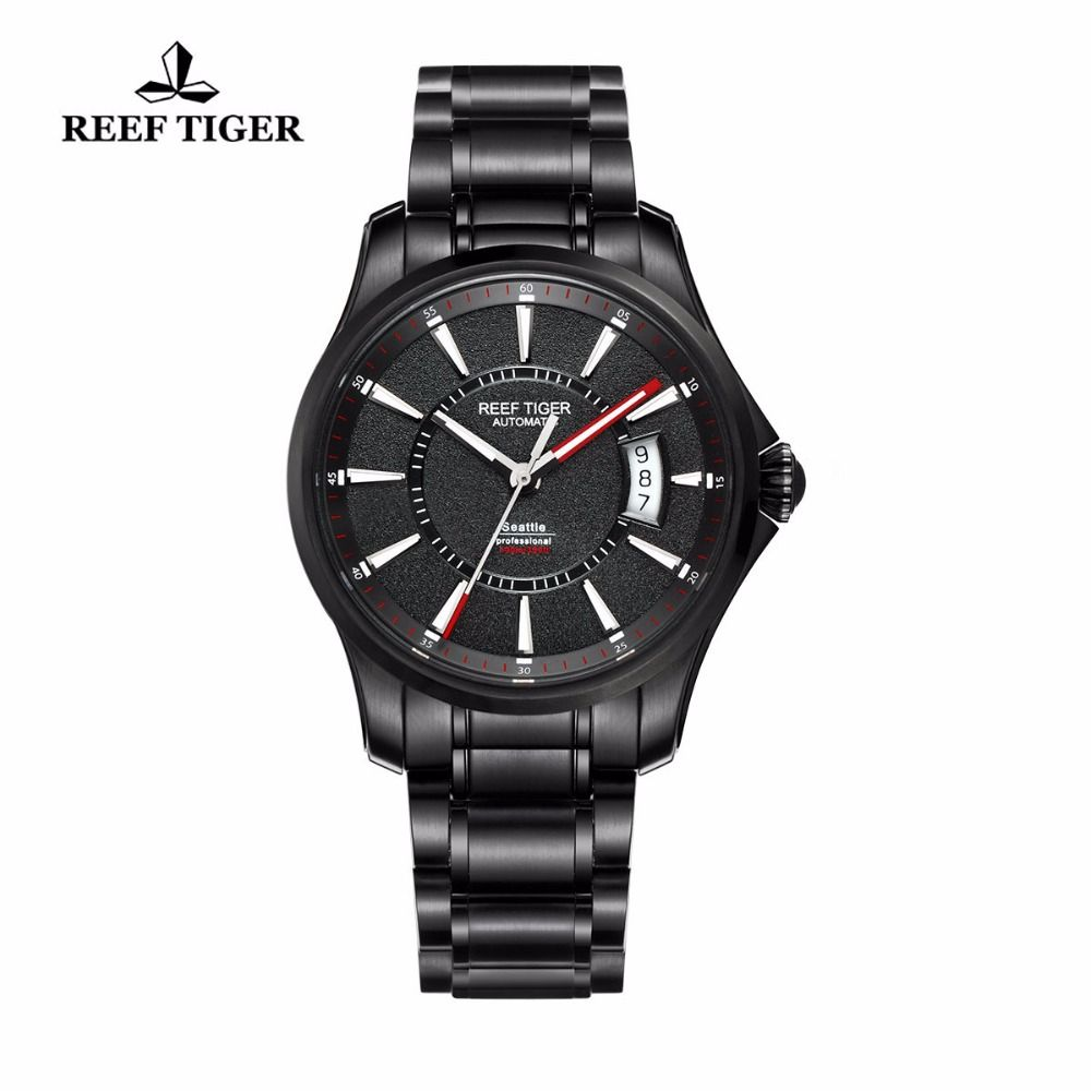 Reef Tiger/RT Watch Seattle Sports For Men Automatic Watches Big Date Black Steel Watch with Super Luminous RGA166
