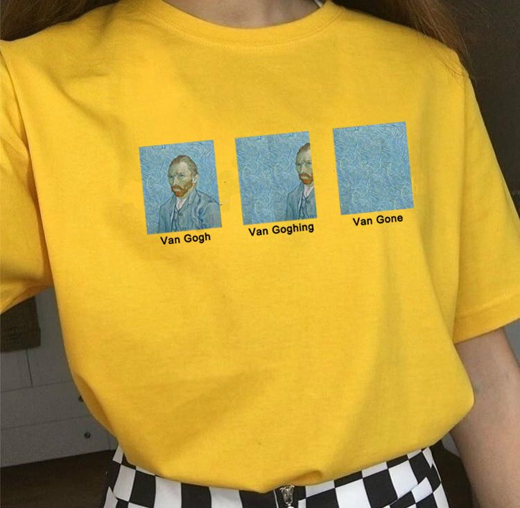 Kuakuayu HJN Van Gogh Van Goghing Van Gone Meme T-Shirt drôle unisexe Hipsters mignon T-Shirt imprimé