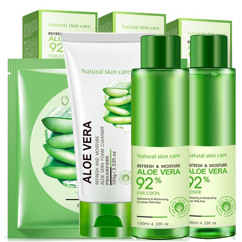 Aloe Vera Hydrating Facial care suit cleanser 4 set Essence emulsion+toner+mask+cleanser Whitening Moisturizing Shrinking pores
