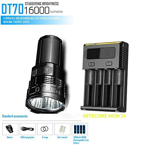 IMALENT DT70 4 x CREE XHP70 16000LM LED flashlight throw distance 700M Search torch flashlight + NITECORE NEW I4 Charger