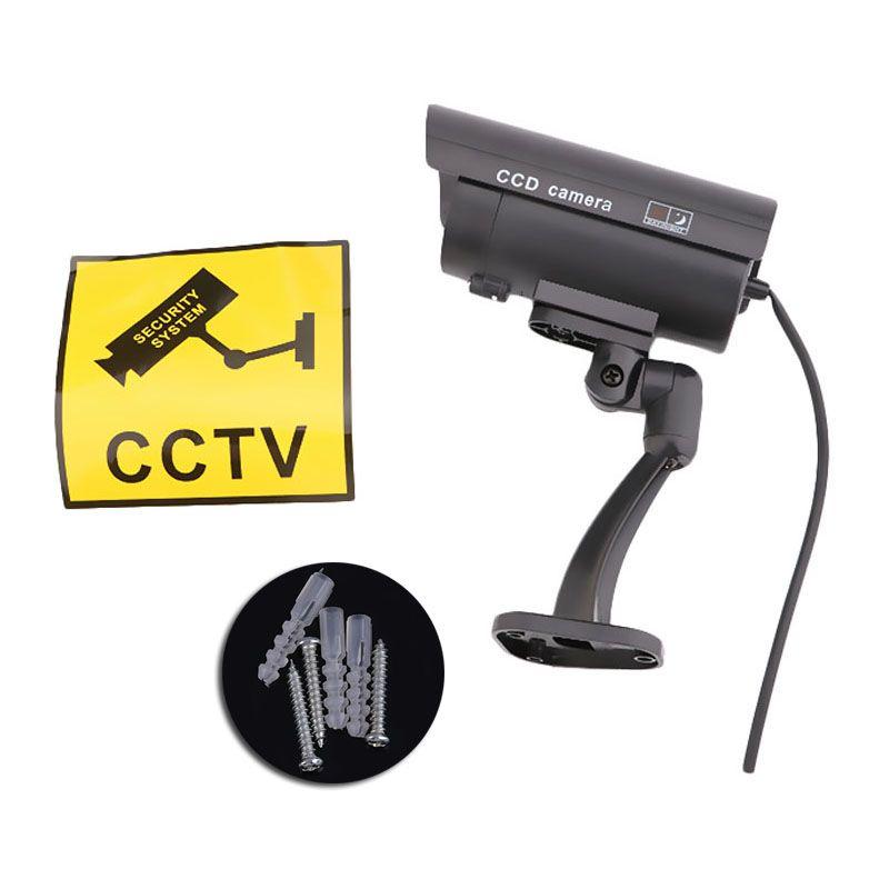 Caméra de vidéosurveillance factice de sécurité pour la maison en plein air, caméra de nuit, lampe de lumière LED rouge clignotante camaras de seguridad