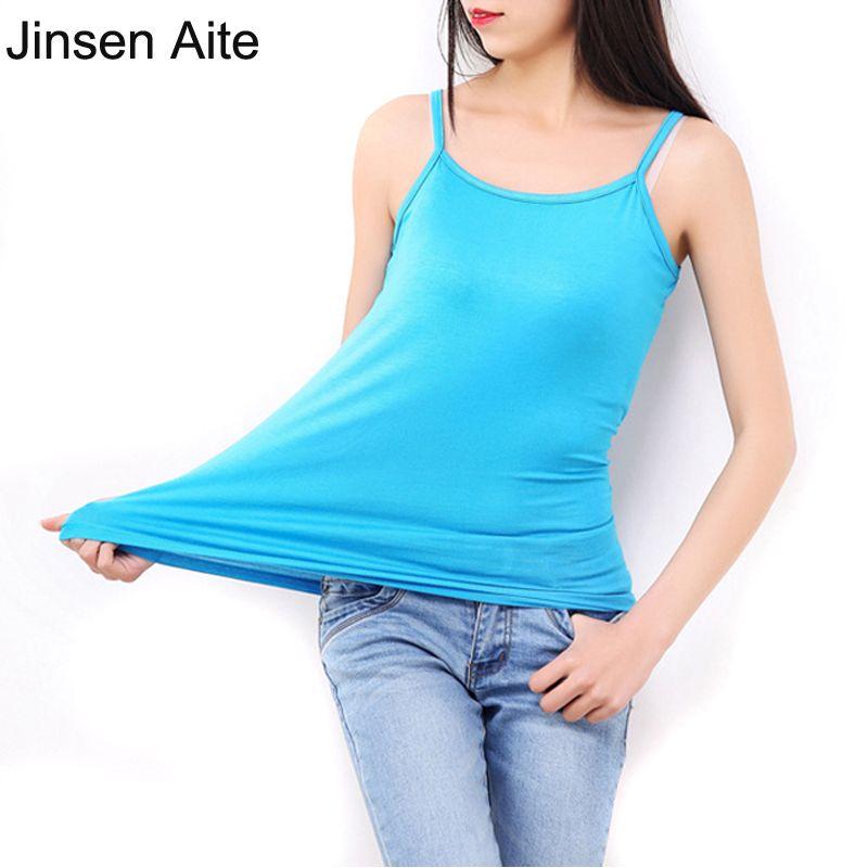 Jinsen Aite L-6XL Plus La Taille Femmes Tops Camisole Loisirs Réservoirs Mode Classique T-Shirt Solide Élasticité Coton Modal Camisoles JS370