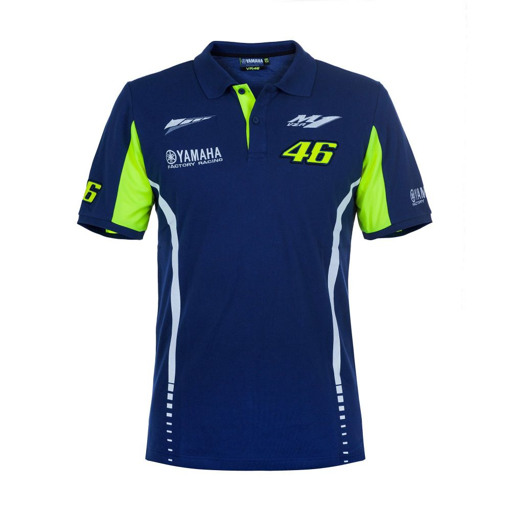 2017 Moto GP VR46 Valentino Rossi for Yamaha Team 46 Polo Shirt MENS The Doctor Blue T-shirt