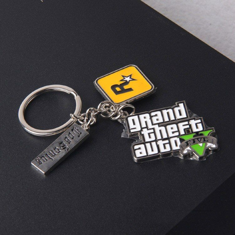 Game Grand Theft Auto V GTA 5 GTA V Keychain Metal Cosplay Keyring Pendant Collectibles Gift Accessory