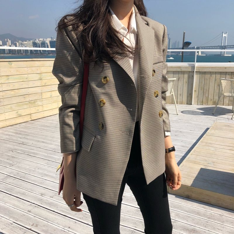 BGTEEVER Classic Plaid Double Breasted Women Jacket Blazer Notched Collar Female Suits Coat Fashion Houndstooth 2019 Spring