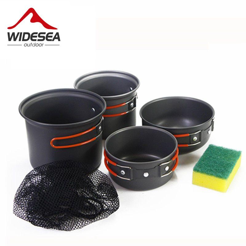WIDESEA outdoor cookset 2-3 person Nicht-stick Töpfe Pfannen Schalen Tragbare Outdoor Camping Wandern Kochen Set Kochgeschirr mit einem schwamm