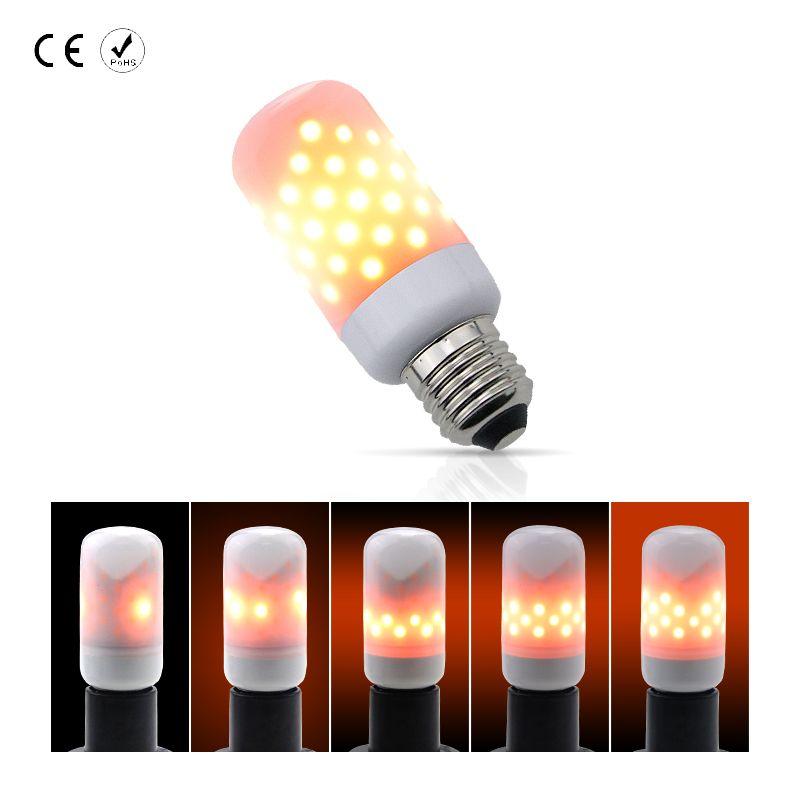LED Flame Lamp Candle Bulb E27/E26 AC85-265V 63leds 220V Christmas Decoration Flashing Holiday Lights led 110V 2835SMD Two Modes