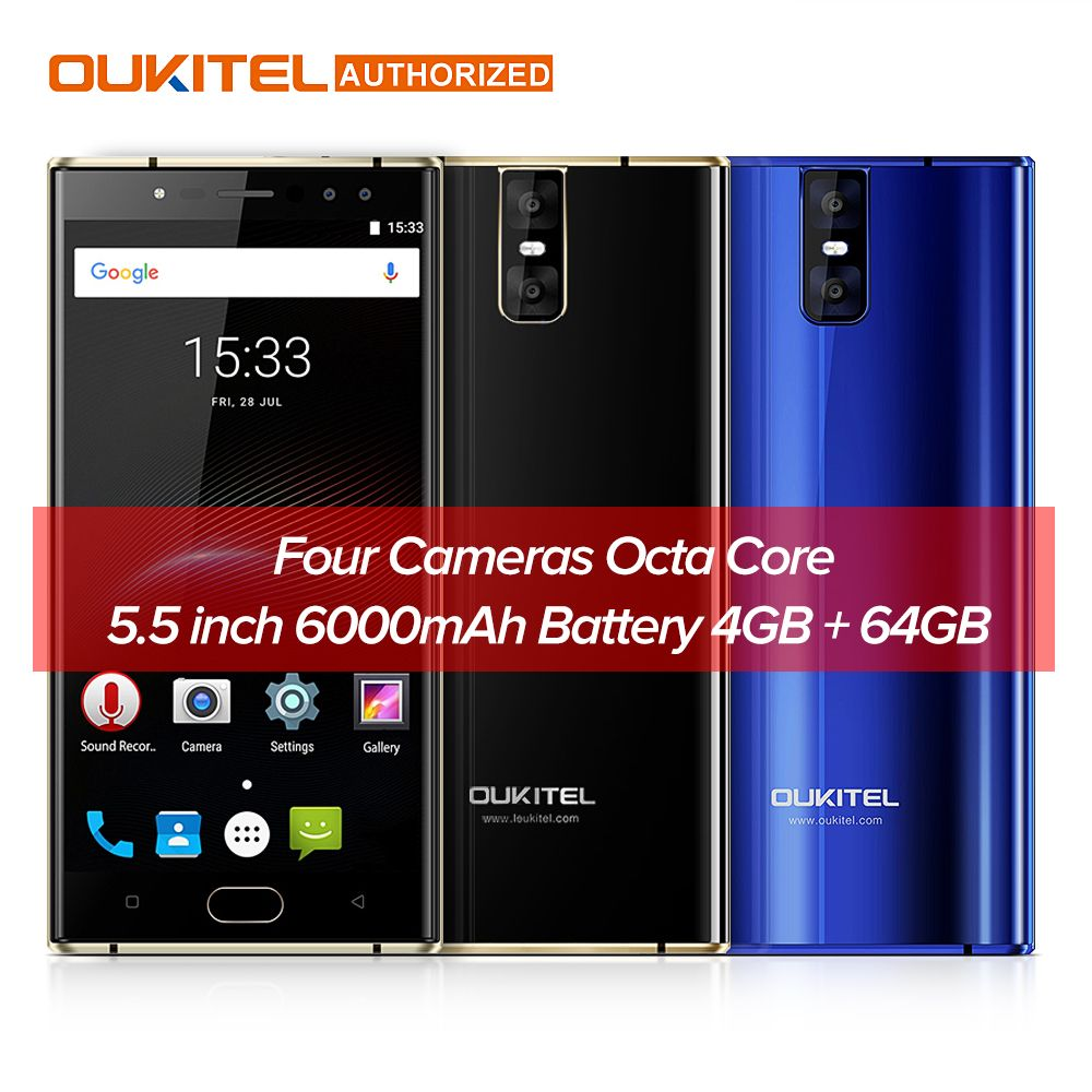 Original OUKITEL K3 5.5 inch 4G Mobile Phone 6000mAh 1.5GHz 4gb 64gb 16.0MP+2.0MP MTK6750T Octa Core Android 7.0 Smart Cellphone