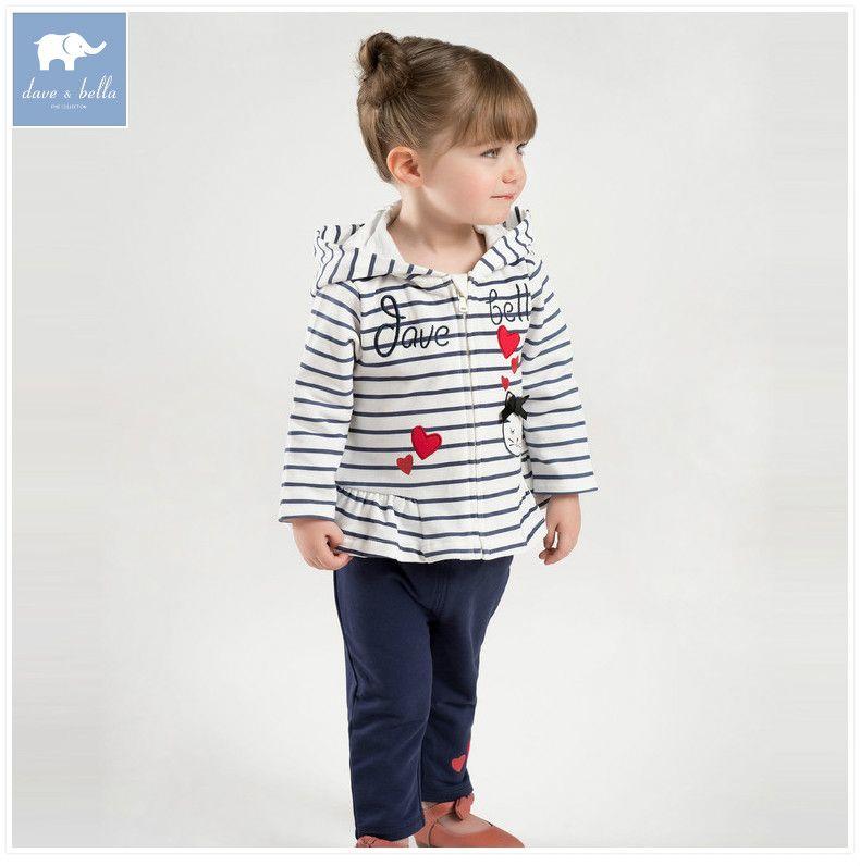DBM7174 dave bella spring infant baby girls fashion hooded clothing sets children 2 pc toddler suit