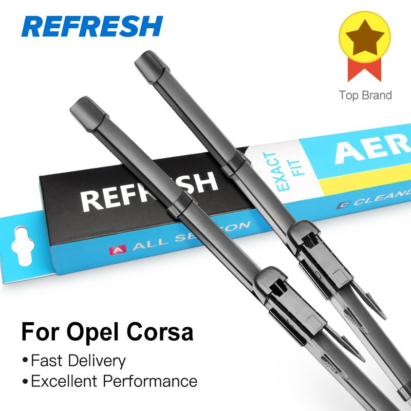 REFRESH Wiper Blades for Opel Corsa C / Corsa D / Corsa E Exact Fit Model Year from 2000 to 2018