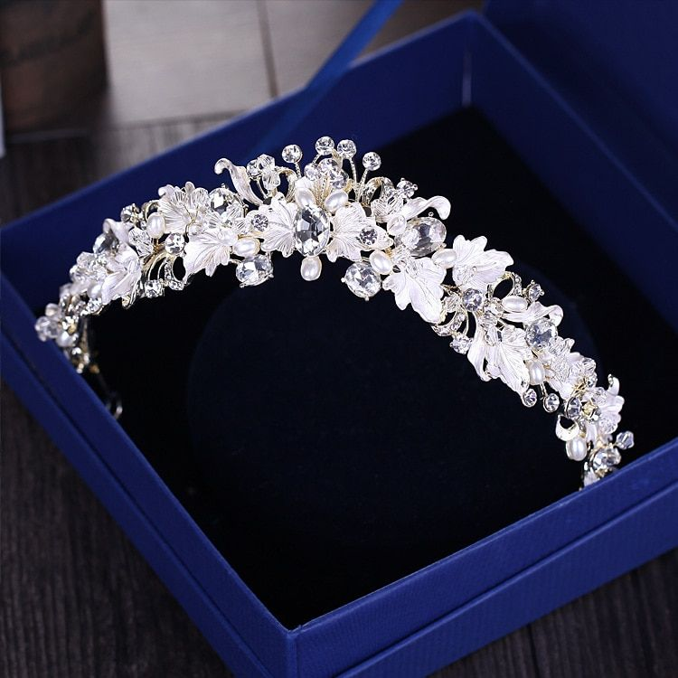 Baroque vintage gold rhinestone pearl flower bridal crowns handmade tiara headband crystal diadem crown wedding hair accessories
