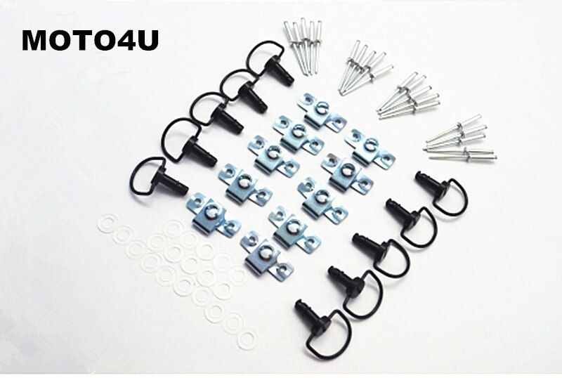 MOTO4U Motorcycle Quick Release D-RING 1/4 Turn Race Fairing Fasteners Rivet 17mm 10Sets