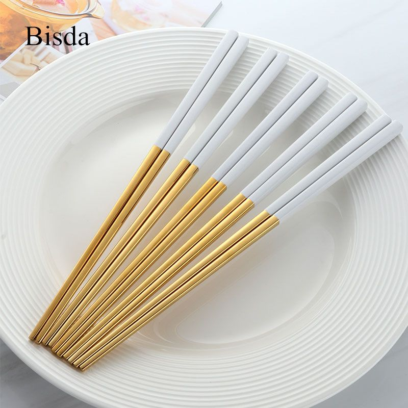 5 Pairs Chinese Chopsticks Stainless Steel Gold chopsitcks Set Titanize Black Metal Chop Sticks Set <font><b>Used</b></font> For Sushi Dinnerware