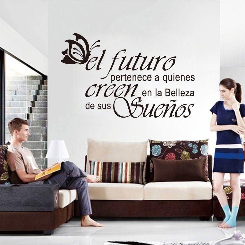Autocollants muraux en vinyle espagnol lettres papillon citation stickers muraux artiste décoration de la maison papier peint décoration de la maison DW0669