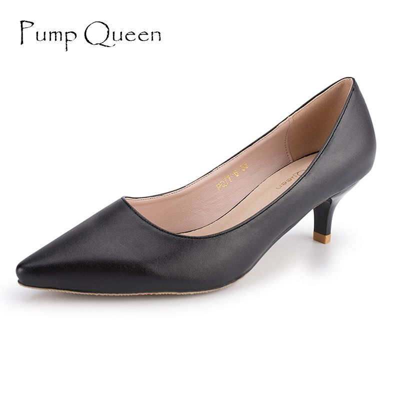 Basic Black Heels Women Pumps 2018 New Office Shoes for Woman Real Leather Insole Low Heel Blue Red Nude Color Size 41