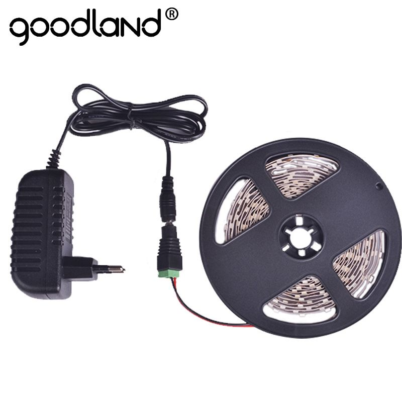 Goodland LED Strip Light SMD3528 5m Single Color Flexible Diode Tape 2A DC12V Red Green Blue Yellow White Warm White