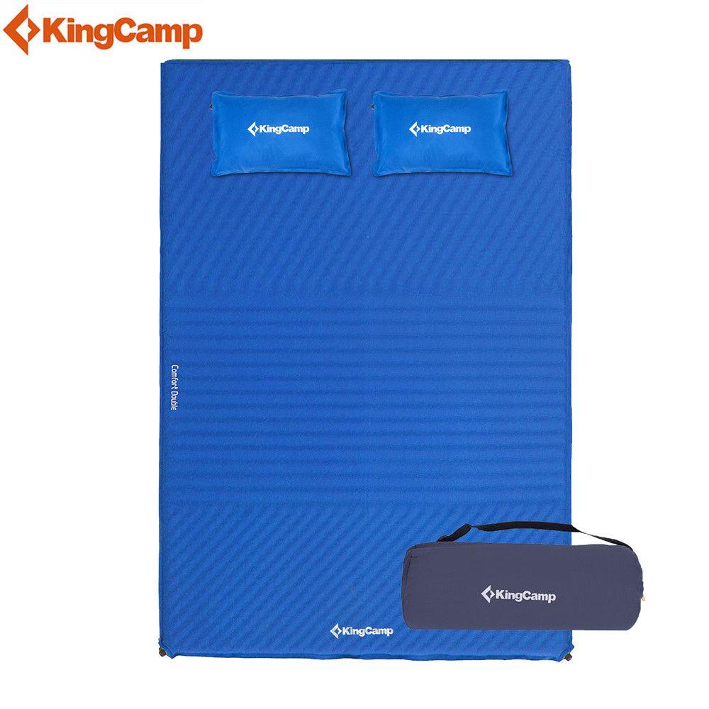 KingCamp Komfortmatratze Selbst Aufblasen feuchtigkeitsbeständig 2-personen isomatte mit kissen Aufblasbare Matratze