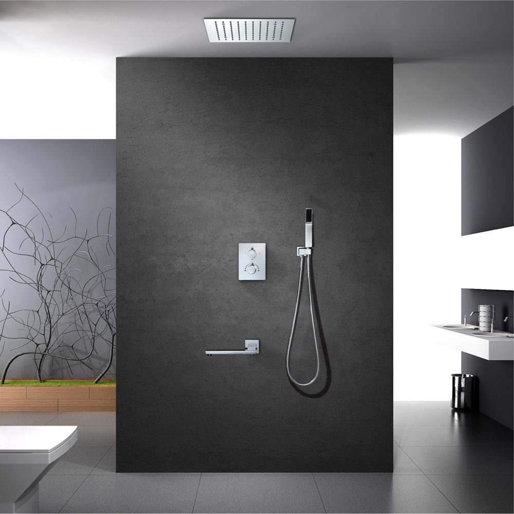 Bath Shower Set LED Shower Head Brass Valve Wall Mounted Thermostatic Shower Faucet