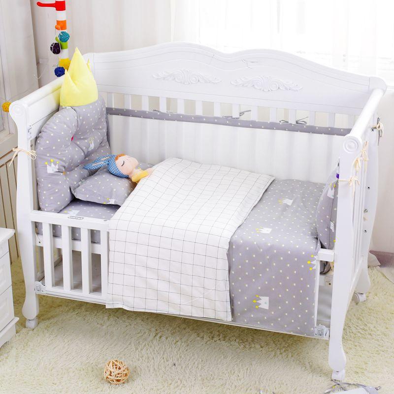 7 шт./компл. маленьких постельных принадлежностей класса люкс Crown подголовник бампер вокруг кроватки защитная сетка Бамперы Лист наволочка ...