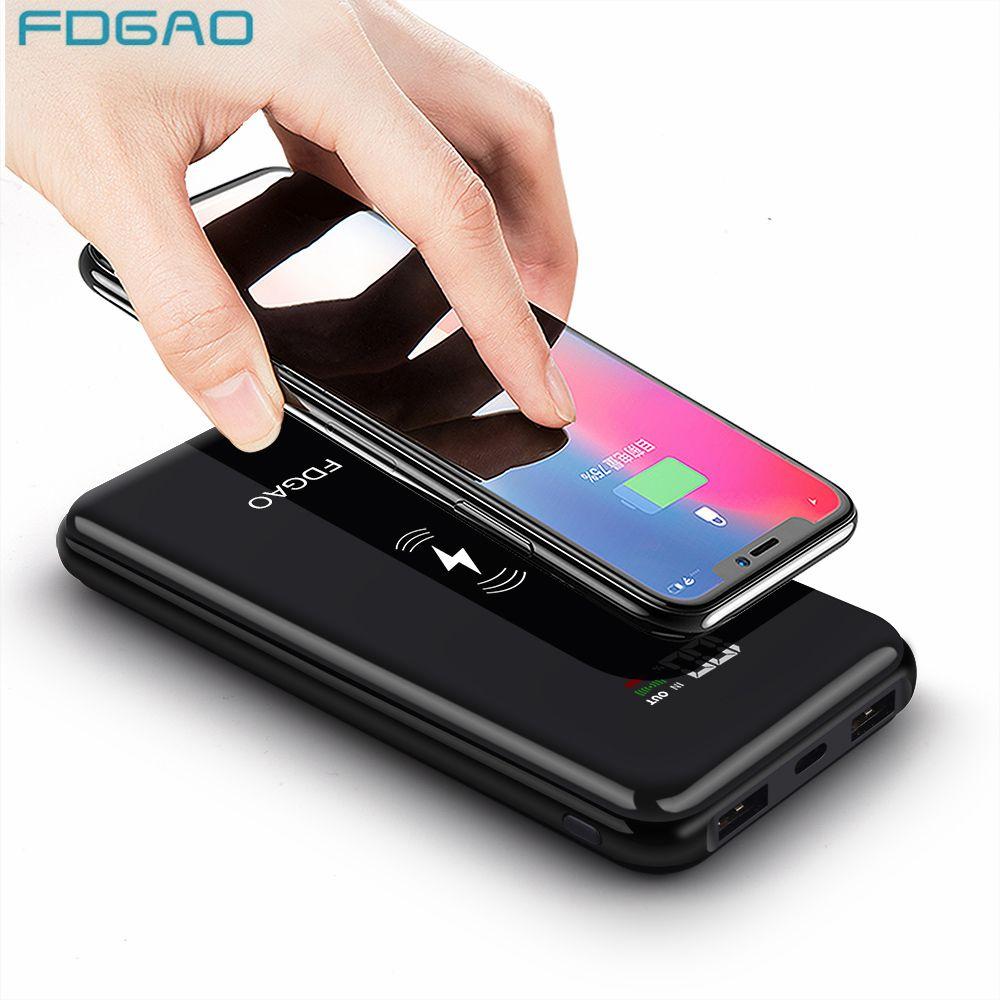 Chargeur sans fil Fdgao batterie externe 20000mAh pour iPhone XS Max X 8 Plus Samsung S8 S9 Note 9 Xiaomi Qi sans fil chargeur rapide