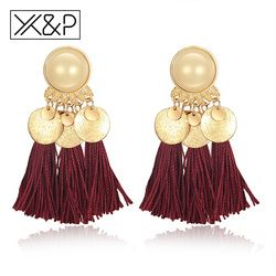 X & P vendimia étnica de lujo borla largo pendientes de gota para mujer chica pendiente Bohemia Fringe pendiente joyería regalo