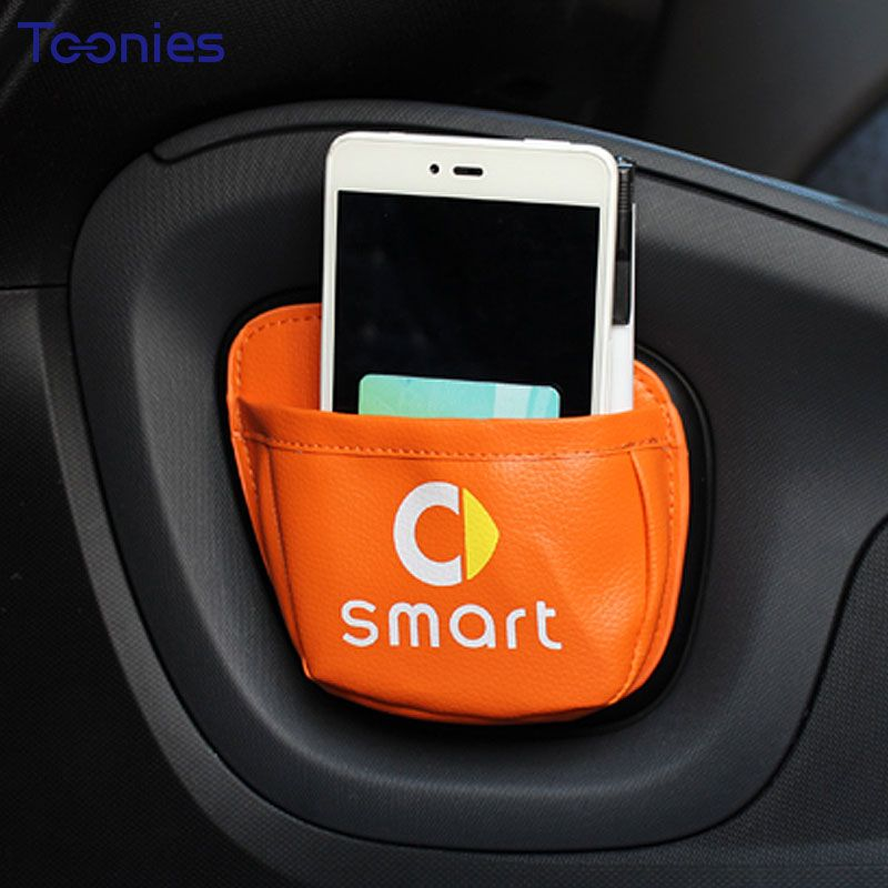Smart Fortwo Forfour453 451Car Mobile Phone Sundries Card Stroage Bag Mesh in the Trunk Organizer Stick Bag Car-styling Ornament