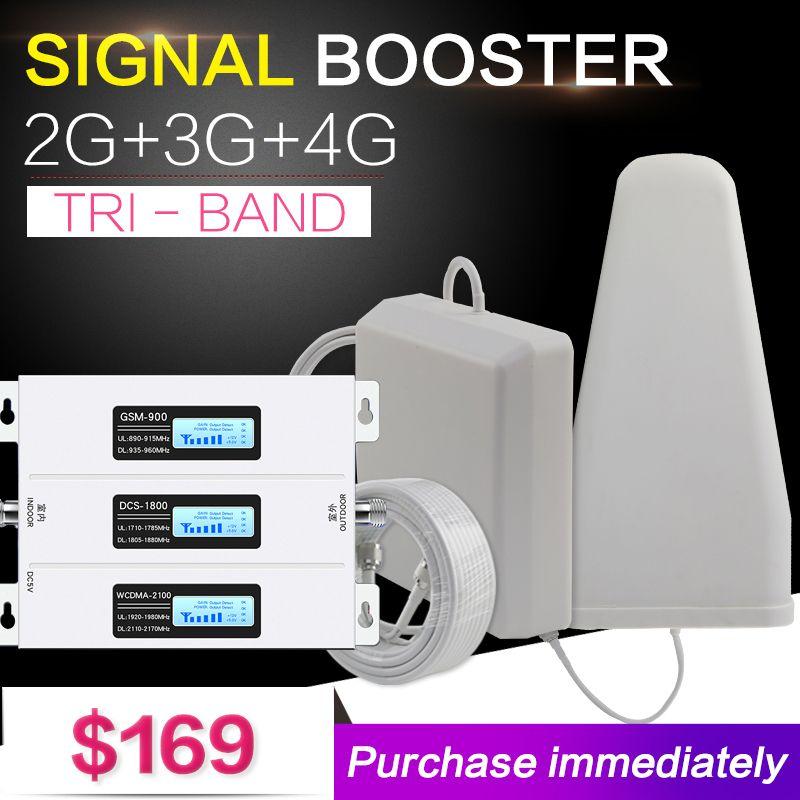 Neue Europa 2G 3G 4G Tri Band Handy Signal Booster 70dB GSM Repeater 3G WCDMA UMTS 2100 4G LTE 1800 Verstärker Set Für Home