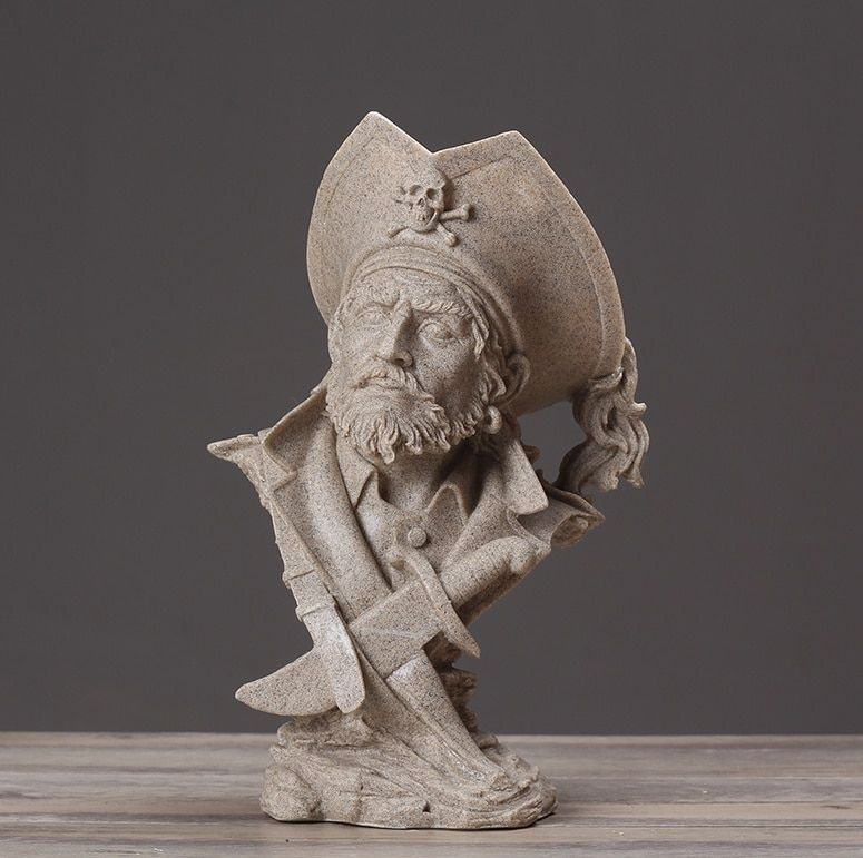 Abstract Pirate Captain Bust Handmade Sandstone Buccaneer Figure Sculpture Novelty Decoration Art and Craft Ornament Accessories