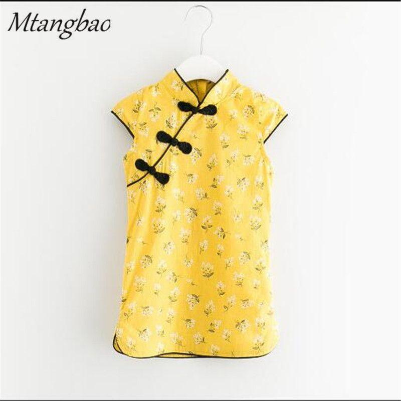 Завод 2017 Лето Китайский Стиль Тан Костюм Старинные Случайный Cheongsam Дети Цветок Печати Qipao Платье для Девочки Одежда дети одеваются