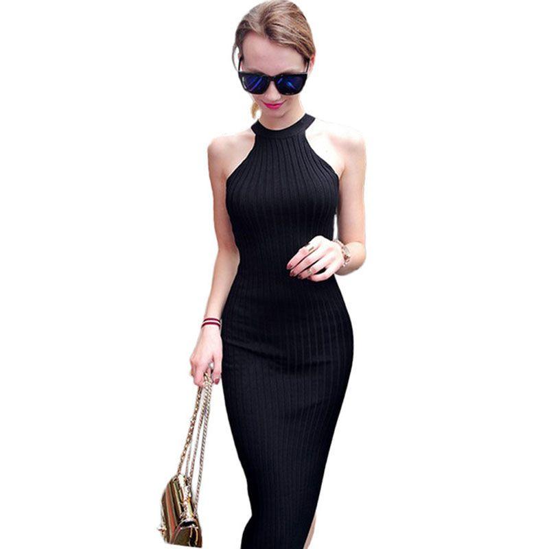 Femmes Longue Robe de tricot 2016 Printemps Sexy Mince Moulante Robes Élastique Skinny Fendu Robe Brève Licou Robes Noires vestidos