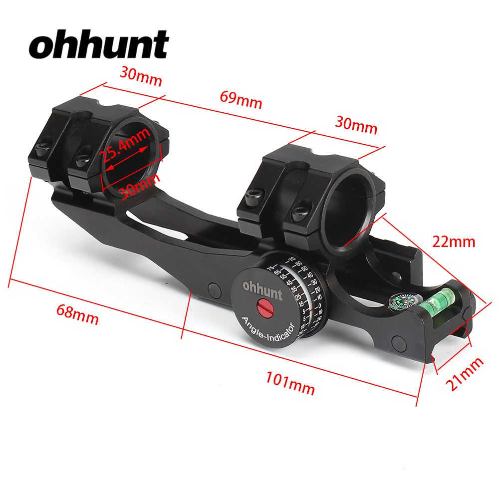 ohhunt 25.4mm 30mm Offset Bi-direction Picatinny Weaver Scope Rings Mount w/ Angle Cosine Indicator Kit and Bubb Level Compass