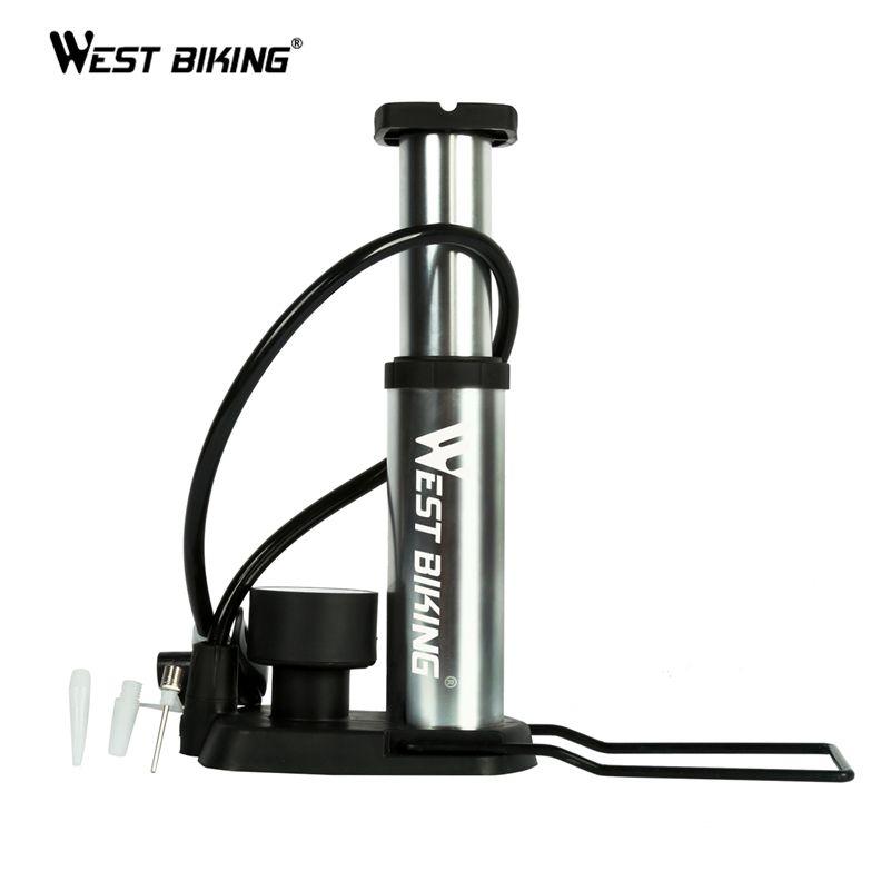 WEST BIKING Ultra-light MTB Bike Pump Portable Pump With Pressure Gauge Bomba de ar <font><b>bicicleta</b></font> 120 Psi High Pressure Bicycle Pump