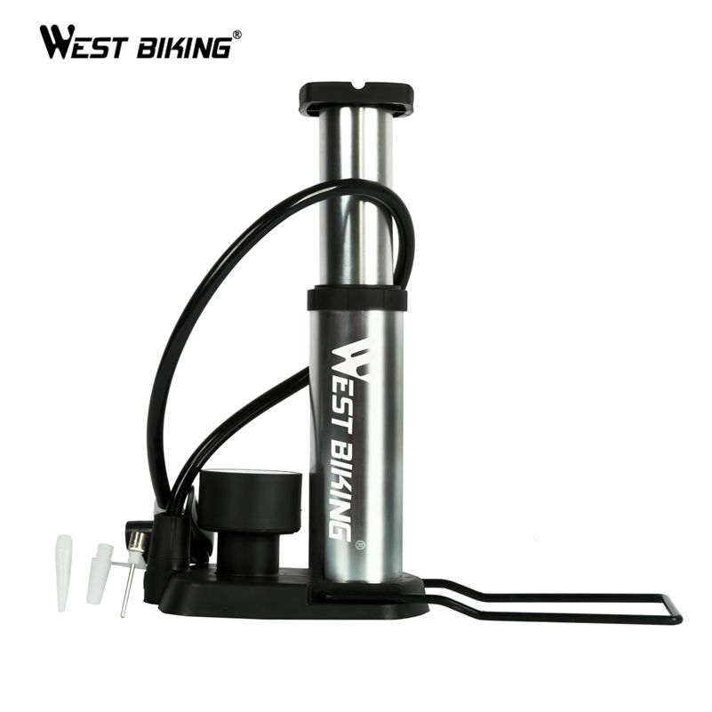 WEST BIKING Ultra-light MTB Bike Pump Portable Pump With <font><b>Pressure</b></font> Gauge Bomba de ar bicicleta 120 Psi High <font><b>Pressure</b></font> Bicycle Pump