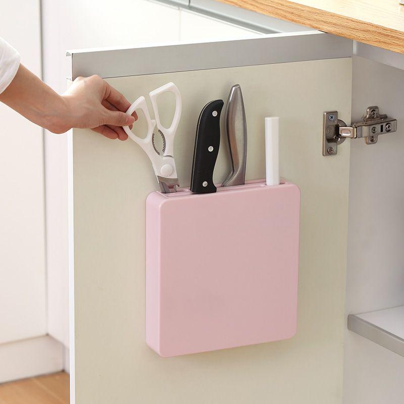 Mur caché porte-outil couteau bloc de rangement en plastique support étagère accessoires de cuisine outils de cuisine couteau de couteaux