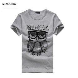 MIXCUBIC hot sale 2015 musim panas Unik Owl dicetak lengan pendek T shirt pria kasual O-neck Surat printing T-shirt untuk pria