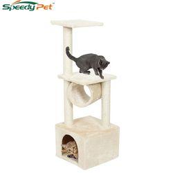 Entrega doméstica H110cm gato Kitten casa rascador madera escalada árbol casa de mascotas gato de lujo saltar marco muebles