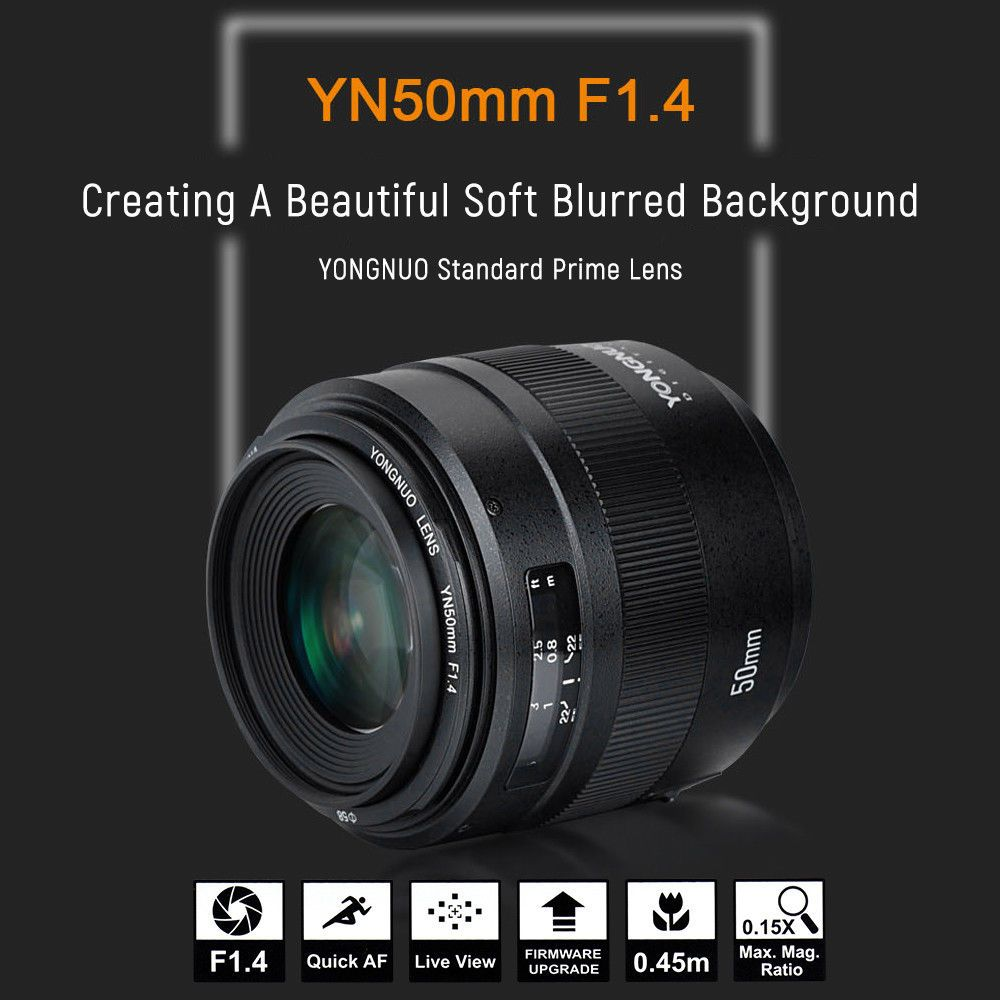 Yongnuo YN50MM F1.4 Standard Prime Lens 7pcs Leaves AF/MF for Canon DSLR Camera