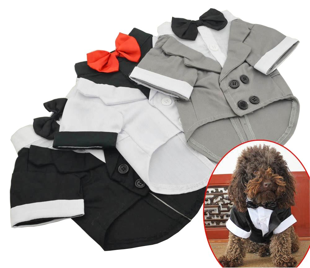 2018 New Pet Vêtements Chiot Chemise Chien De Mariage Smoking Western Style Costume avec Bow Tie Vêtements Vêtements Pour Chiens Manteau livraison Gratuite