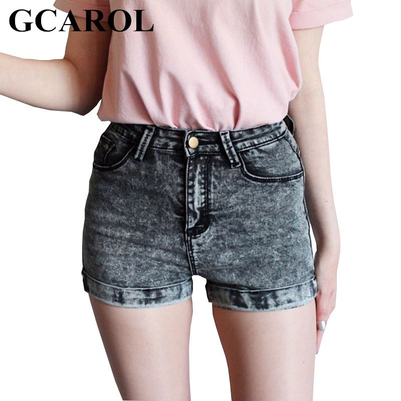 GCAROL Women Euro Style High Waist Denim Shorts Stretch Casual Basic Jeans Shorts High <font><b>Quality</b></font> Shorts For Summer Spring Autumn
