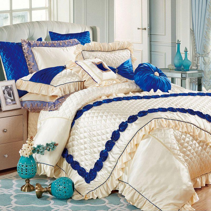 Fashion European style embroidered silk cotton linens 11pcs bedding set King size bed flag bedspread wedding duvet cover set