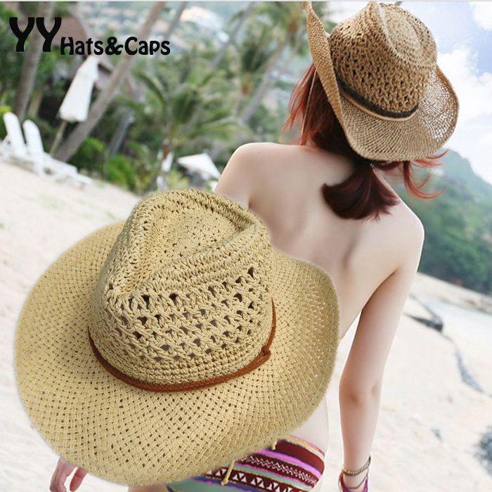 Chapeau de Cowboy de paille de Style d'été unisexe chapeaux occidentaux creux vacances plage feutre chapeaux de soleil casquette de fête pour homme femme YY0271