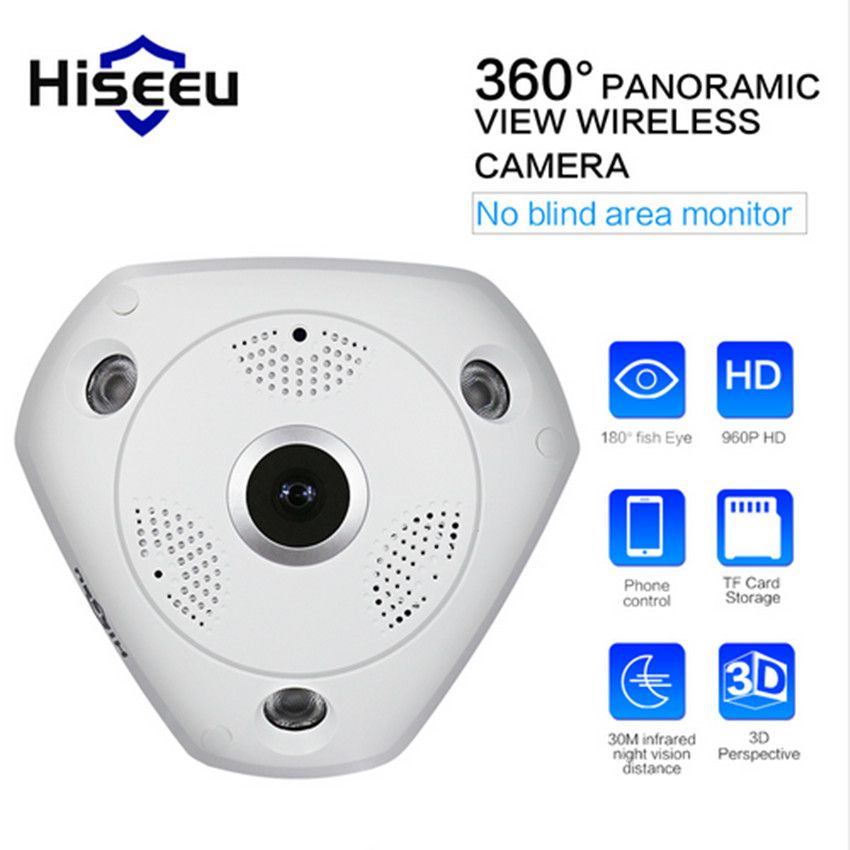 Hiseeu HD WiFi Caméra Panoramique 360 Degrés E-PTZ Fisheye Réseau IP CCTV Caméra Vidéo De Stockage À Distance IR-CUT Onvif Audio-en P2 41