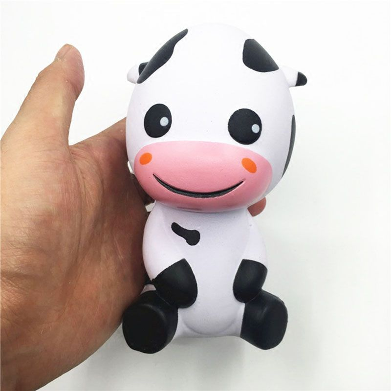 Cartoon Jumbo 14CM Baby Cow Squishy Animal Slow Rising Phone Strap Accessories Soft Scented Bread Cake Kid Toy P15