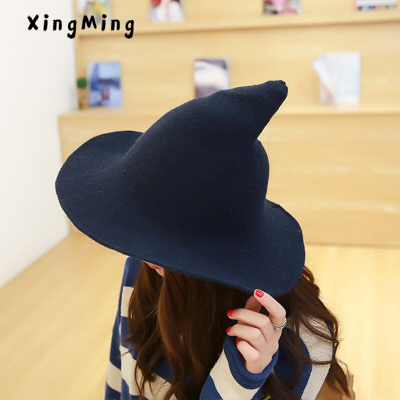 Femmes moderne sorcière chapeau hommes le long de la laine de mouton casquette à tricoter pêcheur chapeau femme mode sorcière pointu bassin seau chapeau