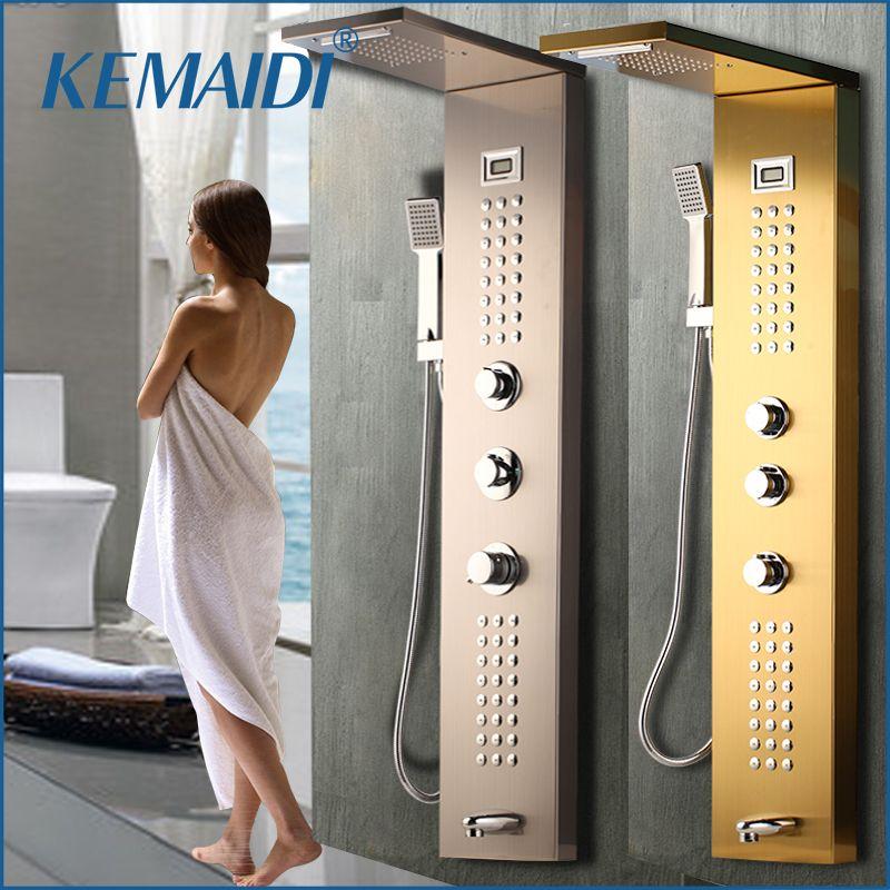 KEMAIDI Wasserfall 6 pc Massage Jets Regen Dusche Spalte Mixer Dusche Wasserhahn Turm W/Hand Dusche Badewanne Auslauf Schwarz dusche Panel