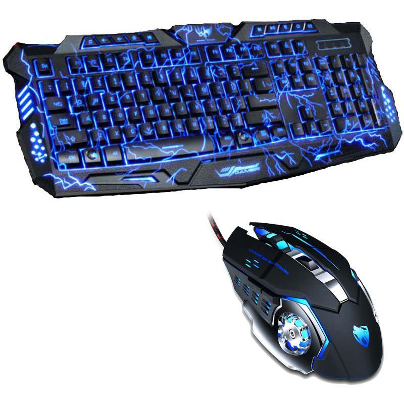 Tri couleur LED rétro-éclairé professionnel clavier de jeu clavier de jeu souris Combo 6 couleur rétro-éclairage souris de jeu pour pc de bureau